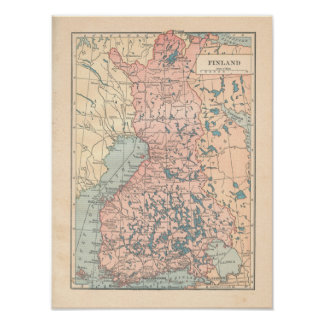 Finland Vintage 1923 Map Poster
