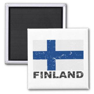 Finland Vintage Flag Square Magnet