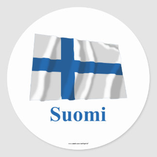 Finland Waving Flag with Name in Finnish Classic Round Sticker