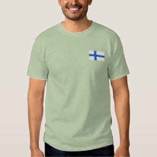 Finland world flag embroidered men's t-shirt