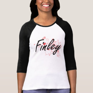 Finley Artistic Name Design with Hearts T-shirt
