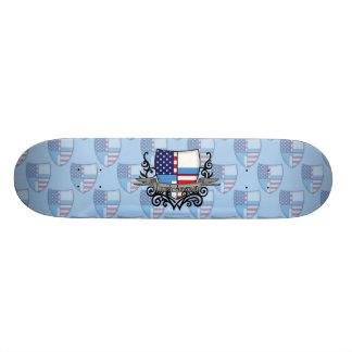 Finnish-American Shield Flag Custom Skate Board