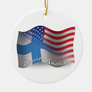 Finnish-American Waving Flag Christmas Ornament