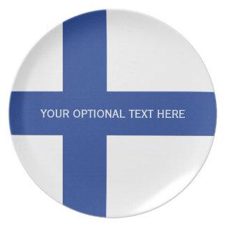 Finnish Flag custom melamine plate