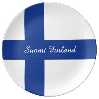 Finnish Flag custom porcelain plate