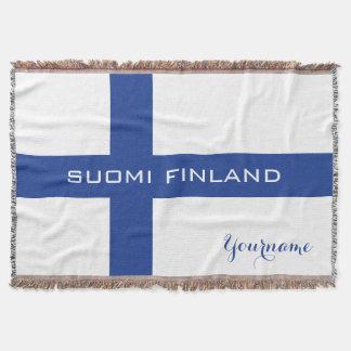 Finnish Flag custom throw blanket
