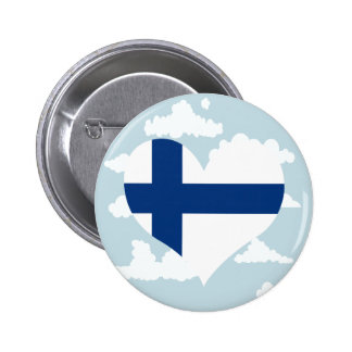 Finnish Flag on a cloudy background 6 Cm Round Badge