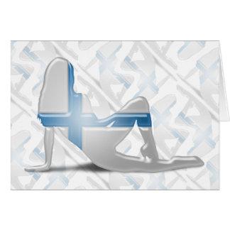 Finnish Girl Silhouette Flag Greeting Card