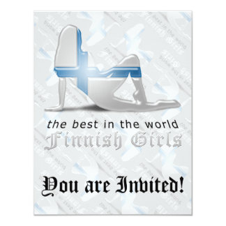 "Finnish Girl Silhouette Flag 4.25"" X 5.5"" Invitation Card"
