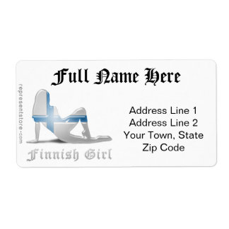 Finnish Girl Silhouette Flag Shipping Label