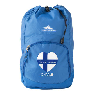 Finnish Heart Flag custom name backpacks Backpack