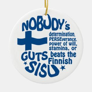 Finnish SISU ornament, double-sided Round Ceramic Decoration
