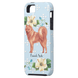 Finnish Spitz, Blue w/White Diamonds Case For The iPhone 5