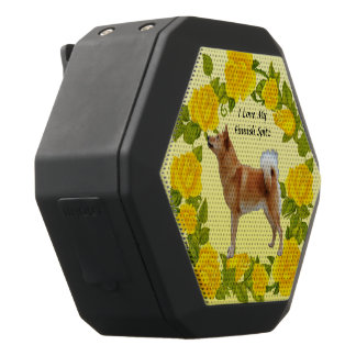 Finnish Spitz with Yellow Roses Black Bluetooth Speaker
