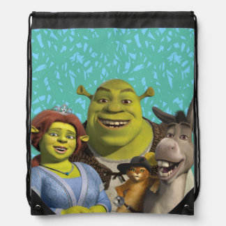 Fiona, Shrek, Puss In Boots, And Donkey Drawstring Bag