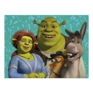 Fiona, Shrek, Puss In Boots, And Donkey Poster