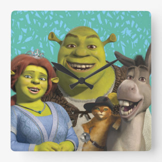 Fiona, Shrek, Puss In Boots, And Donkey Square Wall Clock
