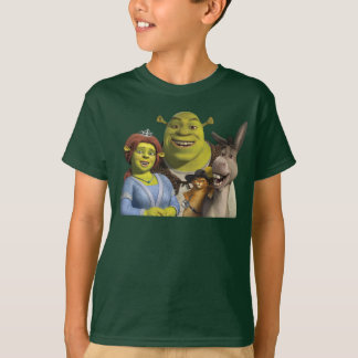Fiona, Shrek, Puss In Boots, And Donkey Tshirts