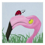 Fiona The Flamingo And Her Visitor Print