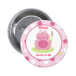 Fiona the pink Frog Customised name tag Button