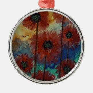 Fiori rossi al tramonto Silver-Colored round decoration