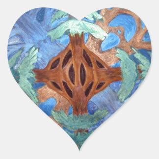 Fir and Deciduous Tree Mandala, watercolor pencil Heart Sticker