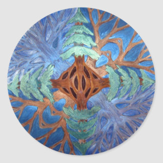 Fir and Deciduous Tree Mandala, watercolor pencil Round Sticker