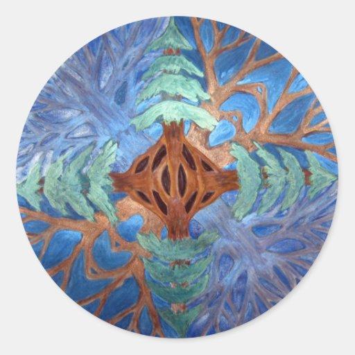 Fir and Deciduous Tree Mandala, watercolor pencil Stickers