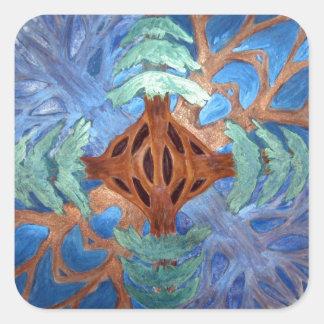 Fir and Deciduous Tree Mandala, watercolor pencil Square Sticker