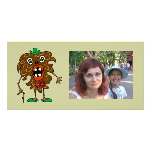 Fir-cone monster funny Photo Card