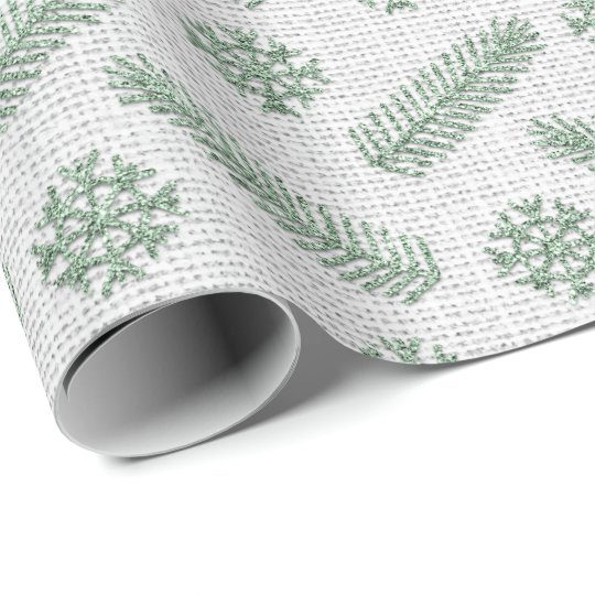 Fir Snowflakes Mint Green White Cottage Linen Gray