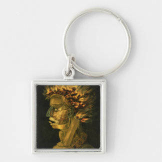 Fire, 1566 Silver-Colored square key ring