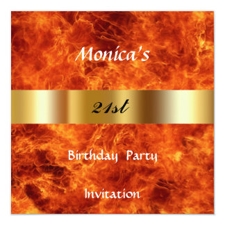 Fire 21st  Birthday Party Invitation Personalized Invite