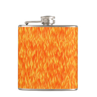 Fire and flame hip flask