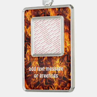 Fire and Flame Pattern Silver Plated Framed Ornament
