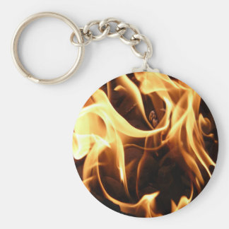 Fire and Flames Basic Round Button Key Ring
