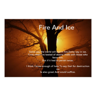 Fire And Ice Over A Burning Sunset Tree Poster