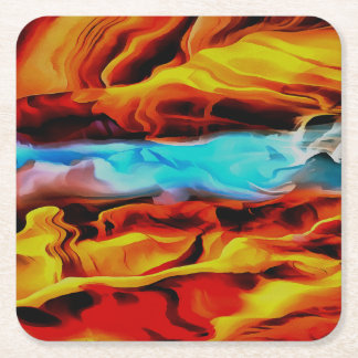 Fire and Ice Square Paper Coaster