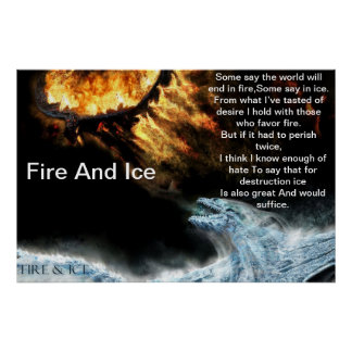 Fire And Ice With Fire Fighting Ice Dragons Poster