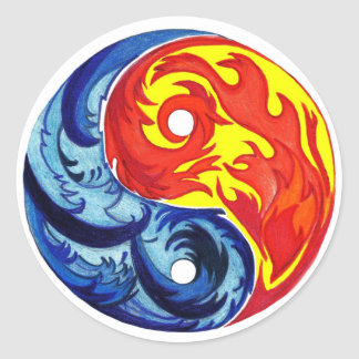 Fire and Ice Yin-Yang Stickers