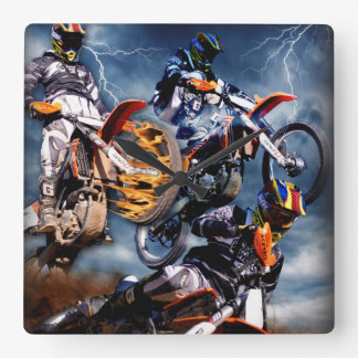 Fire and lightning Motocross clock