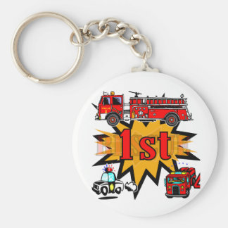 Fire and Rescue 1st Birthday Basic Round Button Key Ring