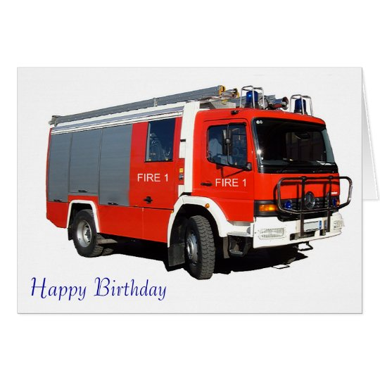 Fire and Rescue Engine for birthday greeting card
