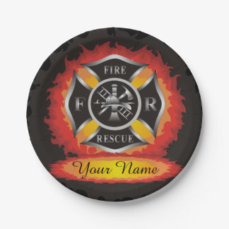 Fire and Rescue Flames Firefighter Paper Plate
