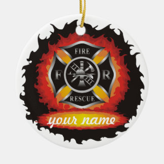 Fire and Rescue Round Ceramic Decoration