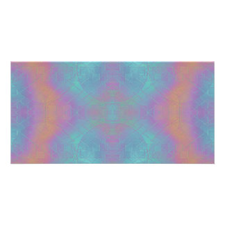 Fire and Sea - Pink and Blue Abstract Custom Photo Card