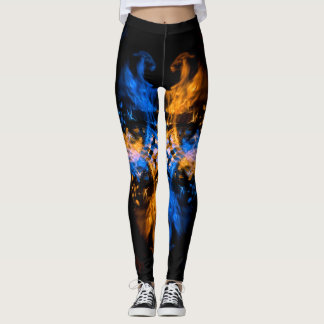 Fire and Water Dragons Fire Art Leggings
