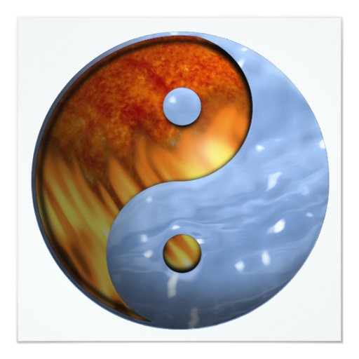 Fire and Water Yin and Yang Symbol 13 Cm X 13 Cm Square Invitation Card