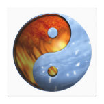 Fire and Water Yin and Yang Symbol Stretched Canvas Print