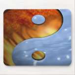 Fire and Water Yin and Yang Symbol Mouse Pads